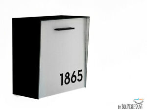 Modern Mailbox Aluminum Silver Face, Black Body, Black Acrylic numbers, Type 1