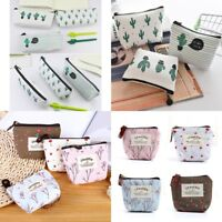 Cactus/ Flowers Canvas Pencil Stationery Case Box Cosmetic Makeup Coin Pouch Bag