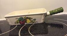 Metlox Provencial Fruit Green Rectangular Divided Vegetable Dish Stick Handle