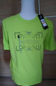 BNWT Under Armour heat gear Lime Run T-Shirt Sz S/M RRP £24