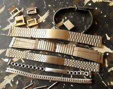 Lot 6 VTG MEN'S & LADIES STAINLESS STEEL LEATHER WATCH BANDS EXTRA CLIPS