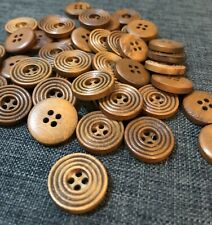 10 X 20mm Brown Wooden Buttons - Australian Supplier
