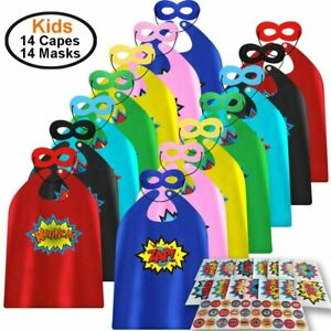 ADJOY 14 Sets of Kids Superhero Capes & Masks Multicolored with 44 Stickers