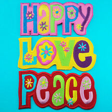 3 Lot HAPPY LOVE PEACE HIPPIE Sign Embroidered Iron Sew on Patch Fancy Logo