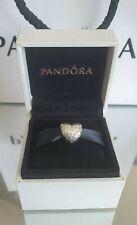 Genuine Silver Pandora Bracelet Charm - Sparkling Heart with CZ Stones Box & Bag