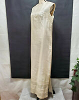 Vintage Unbranded Ivory / Silver Long Sleeveless Evening Dress | Size S / M