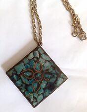 Vintage Square Brass/Copper with Turquoise Inlay Pendant and Chain Stamped INDIA