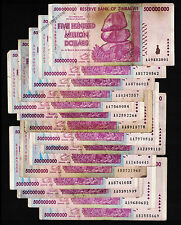 15 x 500 Million Zimbabwe Dollars Bank Notes AA AB 2008 Currency 15PCS Low Price