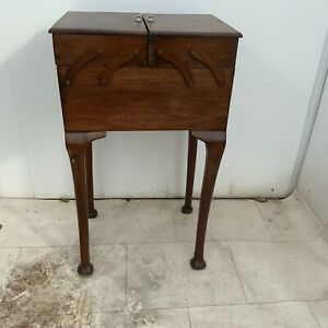Sewing box mahogany cantilever Cabriole leg Edwardian