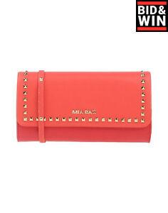 MIA BAG Barrel Clutch Bag Red Saffiano PU Leather Studded Shoulder Strap