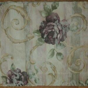 "Croscill Chambord Valance Blouson 82"" x 17"" Purple Amethyst Green Floral"