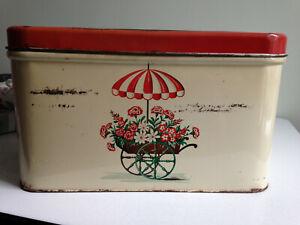 Vintage Enamel Bread Box with Floral Cart & Umbrella