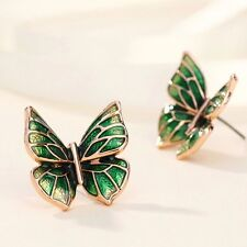 Rose Gold Plated Green Butterfly Summer Enamel Stud Pierced Earrings Jewellery