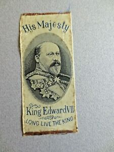 Antique SILK BOOKMARK Stevengraph his Majesty King Edward VII Long Live the King