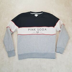 Pink Soda Sport Sweater Women Medium Blue Grey White Spell Athletic Gym Ladies *