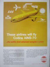 8/1971 PUB COLLINS AINS-70 NAVIGATION SYSTEM DC-10 UTA AIR AFRIQUE SAS KLM AD
