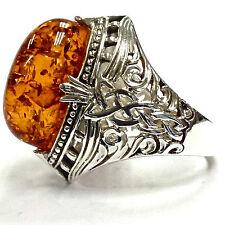 Stile celtico naturalistico Knot MIELE AMBRA Anello Argento Sterling 925 8