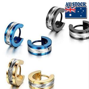 Surgical Titanium Women Men Blue Punk Hoop Earrings Piercing Jewellery