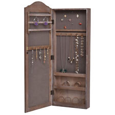 Wood Wall Mounted Tall Dressing Glass Mirror Jewelry Cabinet Storage Armoire New