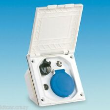 WHITE FLUSH FITTING MAINS UTILITY MULTI USE OUTLET BOX, CARAVAN, MOTORHOME,
