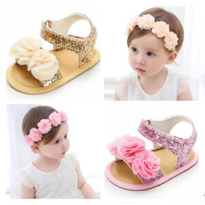 Baby Girl Crib Shoes Infant Outfit Dress Sandals Hair Headband Set Newborn to 18