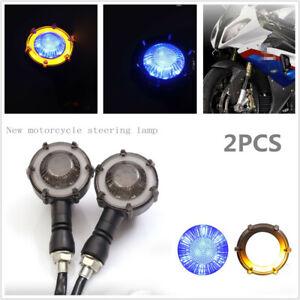 2PCS 12V Round Motorcycle Bikes Daytime Turn Signal Light LED Running Lamps M10