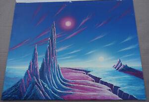 1975 Morris Scott Dollens Original Painting Binary Suns Sci-Fi Space Art RARE