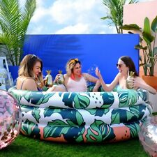 Minnidip 5 Foot Luxe Inflatable Adult Pool - That's Banana Leaves Print