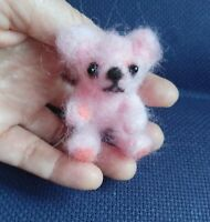 Needle Felted Animal little  teddy  bear Wool Art  mini Sculpture ooak gift -P1