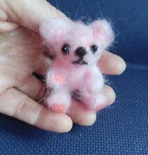 Needle Felted Animal little  teddy  bear Wool Art  mini Sculpture ooak gift -P1