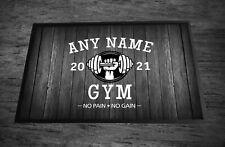 Sala de gimnasio Personalizado/cueva de hombre blanco y negro efecto madera Puerta Mat 60 X 40 cm Alfombra De Sala