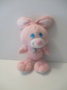 Fisher Price 1994 Pink Thermal Knit Bunny Rabbit Stuffed Animal Bow Tie Sewn Eye