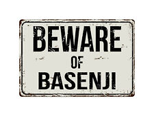135Vs Beware Of Basenji 8� x 12� Vintage Aluminum Retro Metal Sign