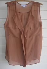 Cotton On Women's Sleeveless Sheer Brown/Tan Button-Up Top with Pockets - Size S