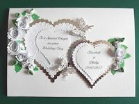 Personalised Handmade Silver 25th Anniversary/Wedding Card Roses/Butterflies