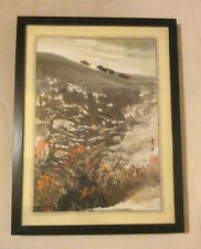 """Vintage Asian Chinese Signed Watercolor  of Water Buffalo on a hill 17""""x13"""""""