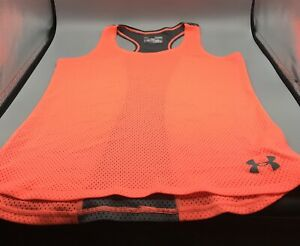 UNDER ARMOUR Athletic HEAT GEAR RAZORBACK Tank Top Mesh Neon Orange Youth Large