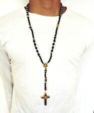 Hip Hop Black Beads Silver Cz Rosary Pray Jesus Cross Religious Necklace Chain