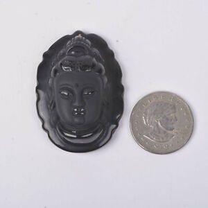 J138520 51mm Carved black obsidian oval pendant bead
