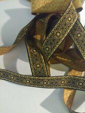 "10 Yds Awesome Jacquard Ribbon 5/8"" wide Black/ Tan/Bronze nice trim"