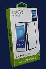 Roxfit Gel Shell caso delgado para Sony Xperia M4 Aqua-Transparente/Negro!! nuevo!!!
