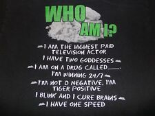 Charlie Sheen T-Shirt Size Large - Who Am I? -  Riddle Quotes Black