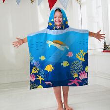 Kids Hooded Towel Poncho Sea Creatures Design Childrens Bathrobe Swim Bath Sun
