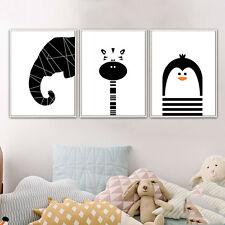 Gato Dibujo Animado Jirafa Elefante Arte Cartel Niños Habitación Decoración Guardería De Lona