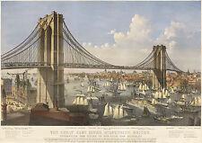 Currier & Ives Art: Brooklyn Bridge - The East River Bridge  #2 - Fine Art Print