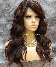 Long Wavy Brown Auburn Mix Full Lace Front Wig Heat Ok Hair Piece #FS4.27 NWT