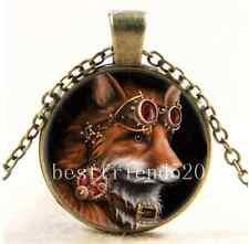 Vintage Steampunk Fox Photo Cabochon Glass Bronze Chain Pendant Necklace