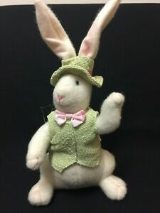 Decorative Large Stuffed Beige Bunny Rabbit Wearing Green Hat and Vest