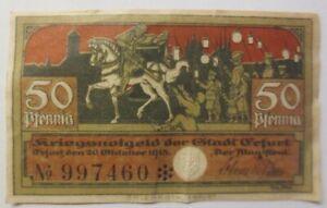 Notgeld 50 Pfennig Der Stadt Erfurt 1920 ♥ (8768)
