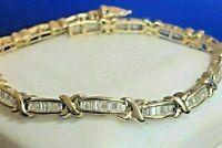 10 Ct Baguette Cut Diamond Pretty Link Tennis Bracelet 14K Yellow Gold Over